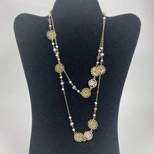 "Jewelry - 38"" Long Wrap Style Gold Tone Necklace"
